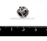 Бусина металлическая Ромашка с сиреневым Стразиком 9*7 мм, внутреннее отверстие - 4 мм, цвет старое серебро 1 штука 055994 - 99 бусин