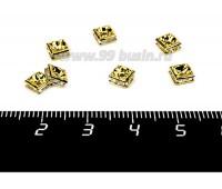 Рондель квадратный 5*5*2,5 мм, цвет золотистый, бесцветные стразы, 1 штука 056042 - 99 бусин