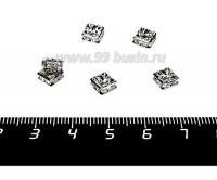 Рондель квадратный 6*6*3 мм, цвет никель, бесцветные стразы 1 штука 056044 - 99 бусин