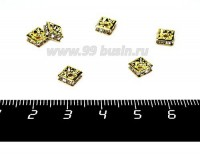 Рондель квадратный 6*6*3 мм, цвет золотистый, бесцветные стразы 1 штука 056046 - 99 бусин