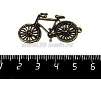 Подвеска Велосипед 39*20 мм, цвет бронза 1 штука 056063 - 99 бусин