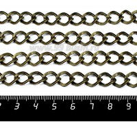 Цепочка Ромбовидное плоское звено 11,5*10 мм, цвет бронза, 1 метр /упаковка 056080 - 99 бусин