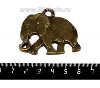 Подвеска Слон Реалистичный 50*43 мм, цвет бронза 1 штука 056101 - 99 бусин
