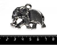 Подвеска Слон Реалистичный 50*43 мм, цвет старое серебро 1 штука 056102 - 99 бусин