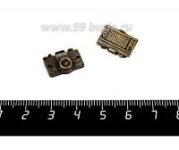 Подвеска - коннектор Фотоаппарат  16*11 мм цвет бронза 2 штуки/упаковка 056114 - 99 бусин