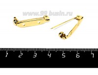 Основа для броши 28 мм, цвет золото, 2 отверстия, застёжка - поворотный механизм, качество ПРЕМИУМ, 1 штука 056120 - 99 бусин
