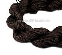 Шнур синтетический нейлоновый ювелирный в пасме (подходит для плетения браслетов), диаметр 1 мм, цвет коричневый, 20 метров/упаковка 056162 - 99 бусин