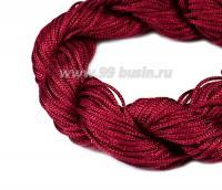 Шнур синтетический нейлоновый ювелирный в пасме (подходит для плетения браслетов), диаметр 1 мм, цвет малиновый, 20 метров/упаковка 056163 - 99 бусин
