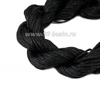 Шнур синтетический нейлоновый ювелирный в пасме (подходит для плетения браслетов), диаметр 1 мм, цвет черный, 20 метров/упаковка 056168 - 99 бусин