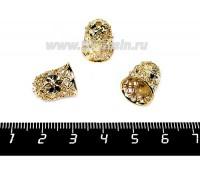 Колпачок Ажурный колокольчик 15*12 мм цвет светлое золото, 9 мм внутренний диаметр, 1 штука 056170 - 99 бусин