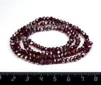 Бусина стеклянная на нити Мелкая грань 4*3,5 мм, цвет рубиновый/перламутр около 150 штук /нить 056187 - 99 бусин