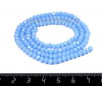 Бусина стеклянная на нити Мелкая грань 4*3,5 мм, цвет непрозрачный голубой около 150 штук /нить 056188 - 99 бусин