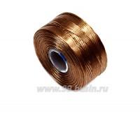 Нить Superlon (S-lon) AA цвет light copper (медно-коричневый) катушка 68,58 метров 056233 - 99 бусин