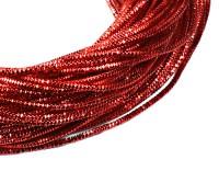 Трунцал (витая канитель)  1,5 мм, цвет MN-12 ярко-красный, пр-во Индия, упаковка 5 грамм (разные отрезки, общая длина около 2,5 метров) 056248 - 99 бусин