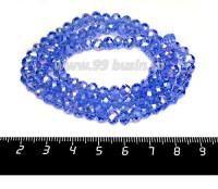 Бусина хрустальная на нити 6*4 мм, цвет светло-синий/бензин около 100 штук/нить 056257 - 99 бусин
