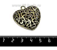 Подвеска Сердце ажурное, полое, двустороннее, 36*36 мм, цвет бронза 1 штука 056308 - 99 бусин