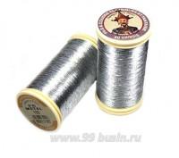 Нитки металлизированные №40 Fil au Chinos Китайский император - цвет 122 серебро Франция 100 метров/катушка 056314 - 99 бусин