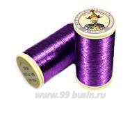 Нитки металлизированные №40 Fil au Chinos Китайский император - цвет 155 фиолетовый (violet) Франция 100 метров/катушка 056320 - 99 бусин