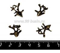 Подвеска Голова оленя 19*14 мм, цвет бронза 4 штуки/упаковка 056340 - 99 бусин