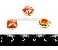 Страз перламутровый керамический Квадрат пришивной в латунных золотистых цапах 10*10 мм, цвет оранжевый 1 штука 056363 - 99 бусин
