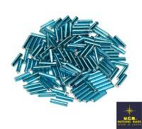 Стеклярус 9 мм гладкий Matsuno 45, цвет голубой, Япония 10 граммов 056435 - 99 бусин