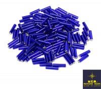 Стеклярус 9 мм гладкий Matsuno цвет синий 44, Япония 10 граммов 056436 - 99 бусин