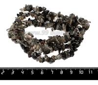 Натуральный камень КВАРЦ ВОЛОСАТИК крошка 4*6 - 11*6 мм, серо-черные тона, 43 см/нить 056464 - 99 бусин