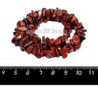 Натуральный камень ЯШМА сургучная, крошка , 4*7 - 6*8 мм, 43 см/нить 056565 - 99 бусин