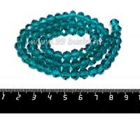 Бусина стеклянная на нитке мелкая грань 8*6 мм цвет темная морская волна около 40 см/нить 056636 - 99 бусин