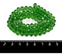 Бусина стеклянная на нитке мелкая грань 8*6 мм цвет зелёный около 40 см/нить 056658 - 99 бусин