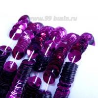 Пайетки 4 мм Италия форма чаша, нить 1000 штук, цвет 414 фиолетовый металлик 056684 - 99 бусин