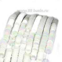Пайетки 4 мм Италия плоские нить 1000 штук, цвет 312 белый перламутр 056690 - 99 бусин