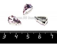 Стразы стеклянные в латунных цапах Капля 13*8 мм цвет нежно-розовый, 1 штука 056741 - 99 бусин
