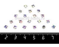 Шатоны (стразы) пришивные стеклянные 4 мм цвет прозрачный АВ/серебро 20 штук/упаковка 056763 - 99 бусин
