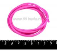 Шнур латексный полый 3 мм цвет ярко-розовый 1 метр/упаковка 056795 - 99 бусин
