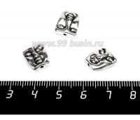 Бусина металлическая Лицо 12*10 мм, двусторонняя, цвет старое серебро, 1 штука 056813 - 99 бусин