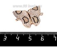 Коннектор Премиум Бабочка 20*25 мм 2 петли с черными, бесцветными микроцирконами, розовая позолота 1 штука 056874 - 99 бусин