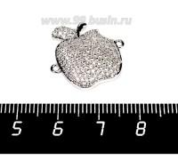 Коннектор Премиум Яблочко 21*20 мм 2 петли с бесцветными микроцирконами, родированный 1 штука 056881 - 99 бусин