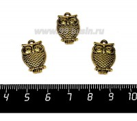 Подвеска Сова Маленькая 20*12,5 мм, цвет античное золото 1 штука 056897 - 99 бусин