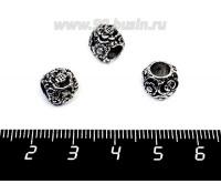Бусина металлическая Цветочная 10*8 мм, внутреннее отверстие 4 мм, цвет старое серебро 1 штука 056930 - 99 бусин