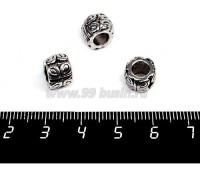 Бусина металлическая Бочонок Бабочки 10*7 мм, внутреннее отверстие 5 мм, цвет старое серебро 1штука 056931 - 99 бусин