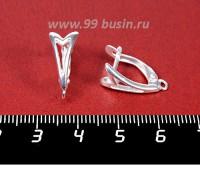 Швензы ювелирные Унисон 17*8 мм, посеребрение 12 мк, гипоалергенные, пр-во Россия 1 пара 057074 - 99 бусин