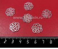 Коннектор Розочка силуэт 15*1,5 мм, цвет светлое серебро, 6 штук/упаковка 057092 - 99 бусин