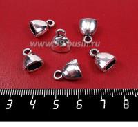 Колпачок Сплюснутый с петелькой гладкий, 13*10*7 мм, внутреннее отверстие 6*4 мм, цвет старое серебро 6 штук/упаковка 057093 - 99 бусин