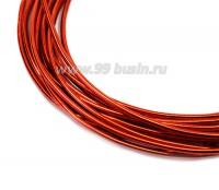 Канитель гладкая глянцевая 1 мм, цвет оранжевый, пр-во Индия, упаковка 5 граммов (разные отрезки, общая длина около 2,6 метра) 057106 - 99 бусин