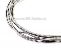 Канитель жесткая 1 мм,MS-08 цвет серый металлик патина, пр-во Индия, упаковка 5 граммов (разные отрезки, общая длина около 1,3 метра) 057107 - 99 бусин