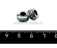 Бусина металлическая Спейсер голубые стразы, 11*6 мм, внутреннее отверстие 4 мм, цвет серебро, 1 штука 057136 - 99 бусин
