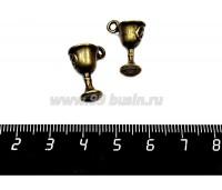 Подвеска Кубок 19*13*9 мм, цвет бронза, 2 штуки/упаковка 057137 - 99 бусин