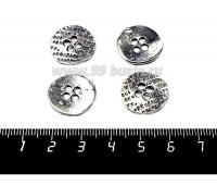 Подвеска Пуговица 17*1,5 мм, цвет старое серебро, 4 штуки/упаковка 057139 - 99 бусин