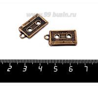 Подвеска Аудиокассета 23*12*2 мм, цвет медь, 2 штуки/упаковка 057140 - 99 бусин